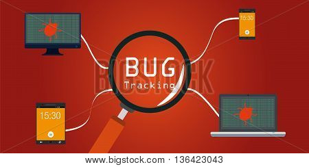 software bug tracking in devices vector illustration