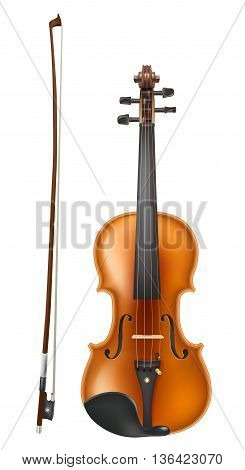 violin and a bow realistic vector on white