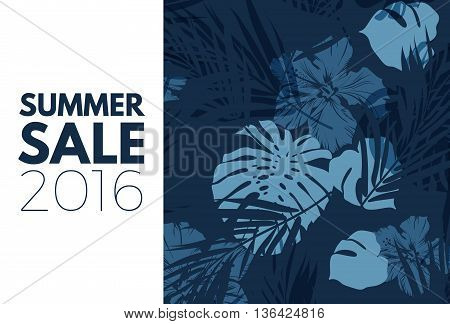 Blue indigo summer tropical hawaiian background with palm tree leaves and exotic flowers, vector illustration