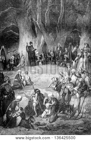 Preaching a Maronite under the cedars of Lebanon, by Bida, vintage engraved illustration. Magasin Pittoresque 1861.