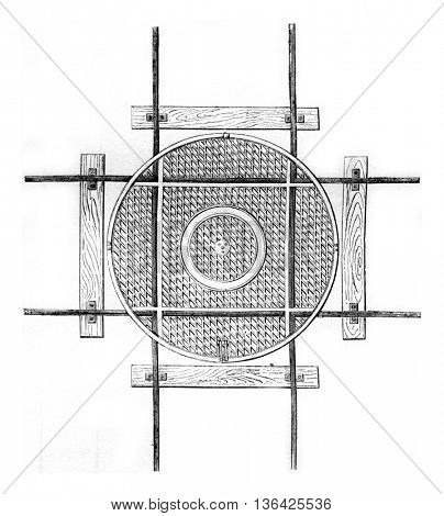 Hub for two channels perpendicular to each other, vintage engraved illustration. Magasin Pittoresque 1861.
