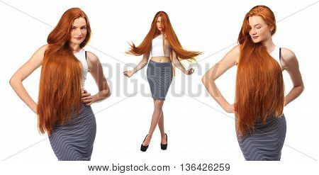 Healthy Long Red Hair. Beautiful Young Woman Isolated On A White Background