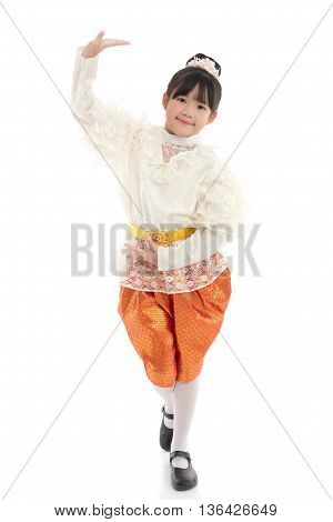 Asian girl traditional dance with white backgroundisolated