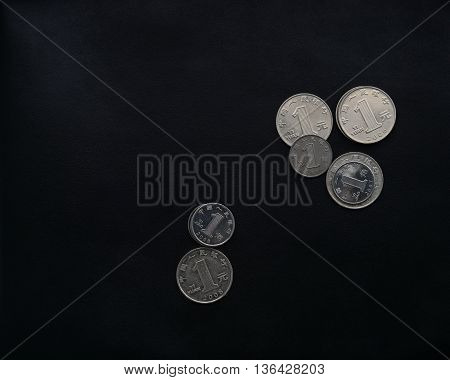 yuan coin china currency money on black leather blackground poster