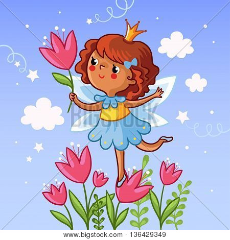 Cute little girl on a flower. The girl with a flower in her hand on the cloudy background. Vector illustration. Drawing on children theme. Little princess on a flower. Girl with tulips.