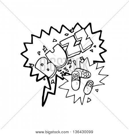 freehand drawn speech bubble cartoon stimulant pills