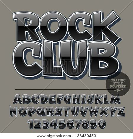 Glossy set of alphabet letters, numbers and punctuation symbols. Reflective vector logotype with text Rock Club