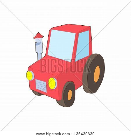 Red tractor icon in cartoon style on a white background