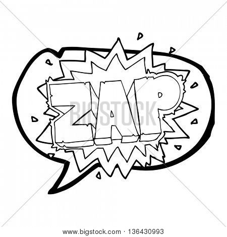 happy freehand speech bubble cartoon zap explosion sign