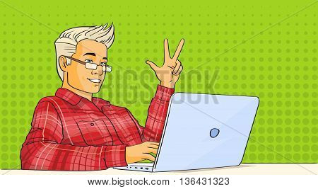 Man Video Blog Stream Laptop Computer Pop Art Colorful Vector Illustration