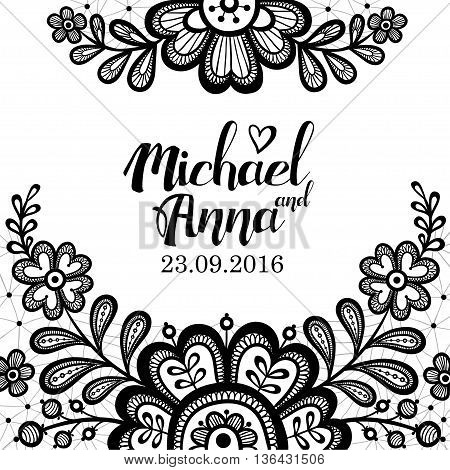 Black and white Lace. Greeting card with flower black lace on a white background and place for your text. Vector illustration with beautiful lace flowers.