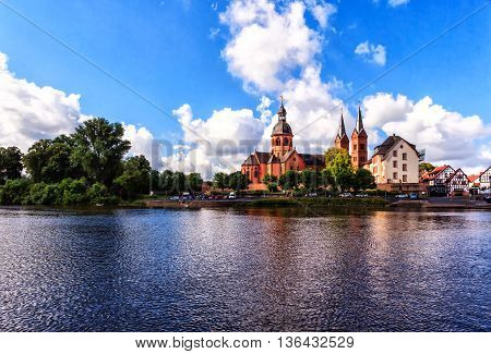 Seligenstadt, historic medieval town on the Banks of the River Main, Hesse, Germany