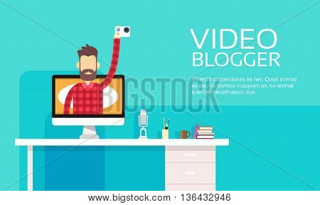 Man Video Blogger Hold Camera Destop Computer Screen Blogging Concept Flat Vector Illustration
