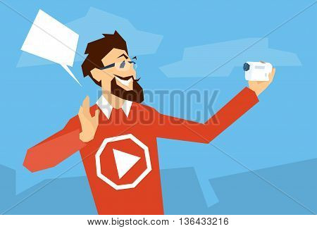 Man Blogger Hold Camera Video Blog Concept Flat Vector Illustration
