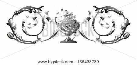 Silver swirl ornament background . Vector illustration