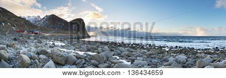 Stone coastline panorama on Lofoten Islands Nort Norway