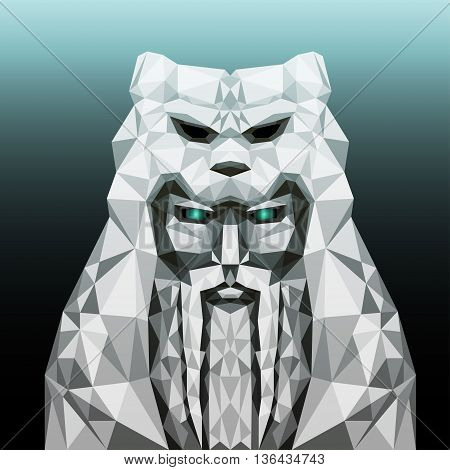 vector illustration with white ancient stone idol