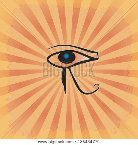 the eye of RA on the radiant grunge background