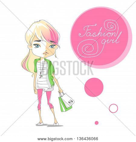 Cute Fashion Girl With Shopping Bags. Cartoon Girl With A Ponytail, Colored Pink And Green Chalk Hai