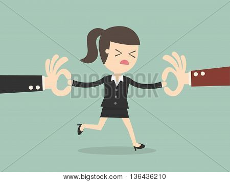 Two Businessman Snatching Employee. Business Concept Cartoon Illustration