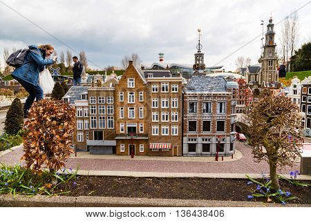 Hague, Netherlands - April 8, 2016: Madurodam, Holland miniature park and tourist attraction in Hague, Netherlands