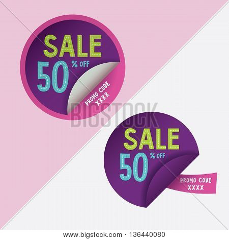 Two round stickers with 50 per cent discount and promo code for web site, for web banners. Eps10 vector