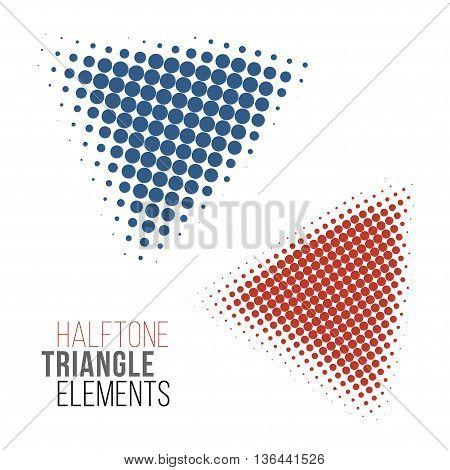 color halftone triangles design elements. Stock vector illustration