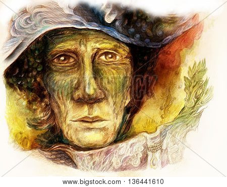 Old story teller telling a faiy tale from an enchanted book, colorful painting