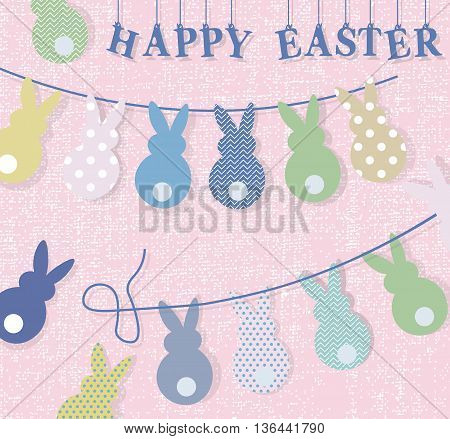 Happy Easter bunny rabbits handmade card. Vector textile handmade rabbits Cute Easter bunting with eggs bunny and hand written text Happy Easter