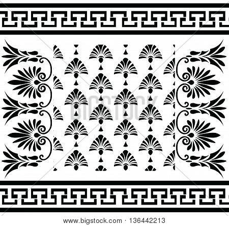 Vector set Traditional vintage Greek ornament (Meander) and floral pattern. Vector greek style ornament composition background