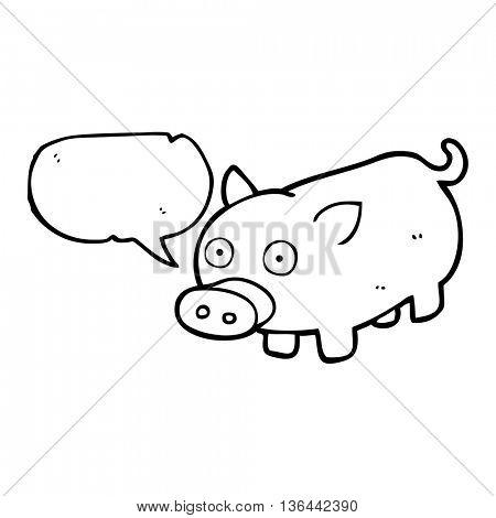 freehand drawn speech bubble cartoon piglet