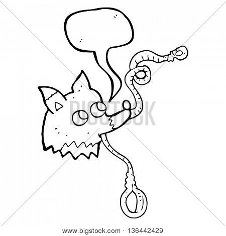 freehand drawn speech bubble cartoon dog with leash