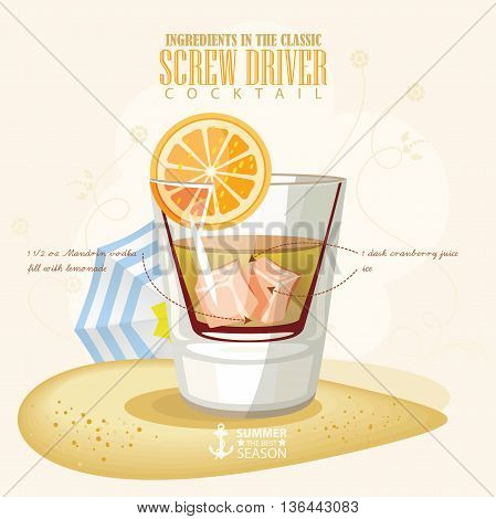Vector illustration of popular alcoholic cocktail. Screw driver club alcohol shot.