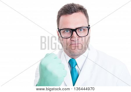 Male Scientist Close-up Showing Fist Like Being Mad