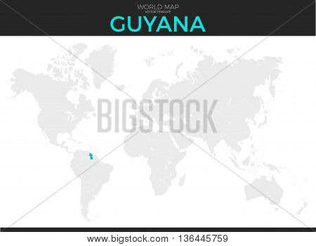 Co-operative Republic of Guyana location modern detailed vector map. All world countries without names. Vector template of beautiful flat grayscale map design with selected country and border location