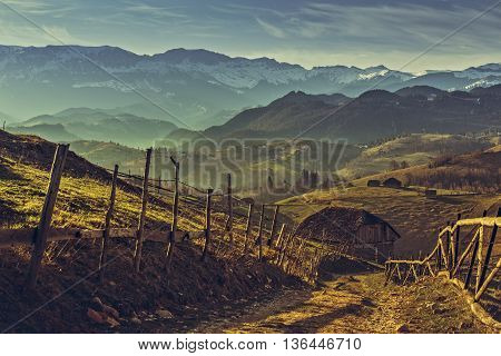 Romanian Morning Rural Scenery