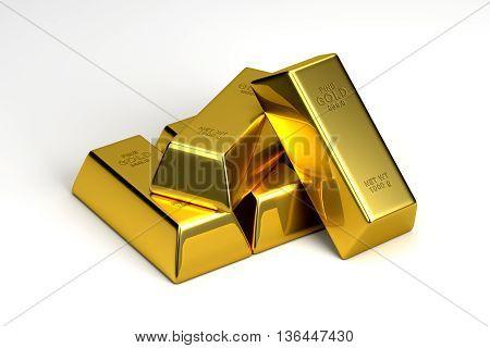 3D rendering gold bullion bars isolated on white background.