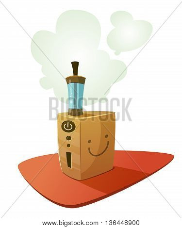 Vaping device mod with emoji smile emotion and a cloud of vapor. Vector cartoon illustration for print and web. Stop smoking, start vaping.