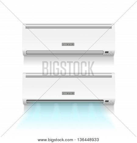 Air conditioner isolated with cold air on white photo-realistic vector