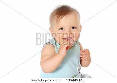 half-length portrait smiling baby boy looking at camera white background