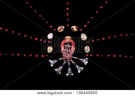 human crystal head skull pink bottle bar tools painting on black background