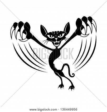 Black cat with claws on a white background.