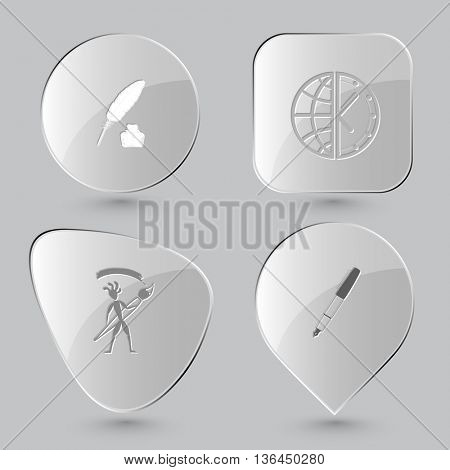4 images: feather and ink bottle, globe and clock, ethnic little man with brush, ink pen. Education set. Glass buttons on gray background. Vector icons.
