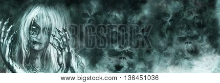 Illustration mysterious woman with painted face and bloody hands. Mist like ghost skulls on the background