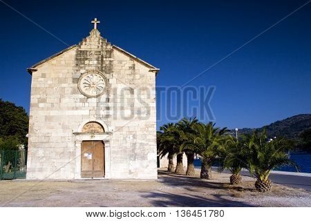 Architecture of Vis island in Croatia. Old monument church.