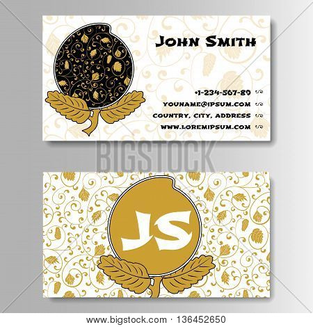 Creative Golden Business Visiting Card with Chinese pattern Template. Pattern With Foliage and Peach Longevity in Chinese style. Vector Illustration