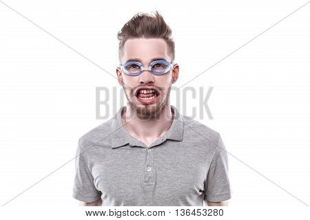 Funny concept for man with windblown mouth. Man wearing glasses. Isolated on white background