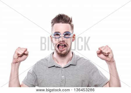 Funny concept for man with windblown mouth. Man wearing glasses and showing success. Isolated on white background