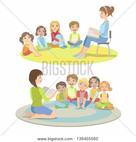 Elementary School Students Listening To the Story Simplified Childish Cartoon Style Flat Vector Illustration