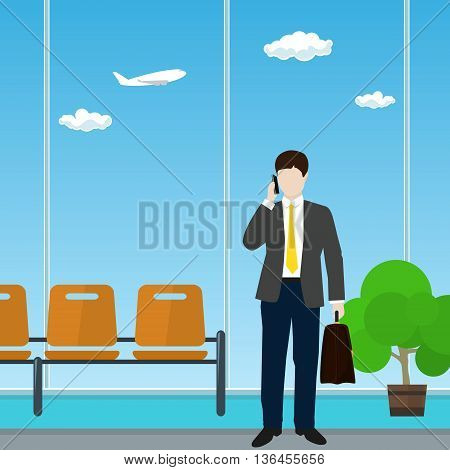 Man with a Briefcase Talking on the Phone in a Waiting Room, Waiting Hall with Businessman in Airport, Travel and Tourism Concept, Flat Design, Vector Illustration